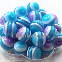 Wholesale New MM Multilayers Blue Resin Striped Beads Chunky Gumball Beads For Bubblegum Necklace A41