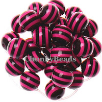 Wholesale Hallowmas Beads MM Hot Pink with Black Resin Striped Beads Chunky Gumball Beads For Bubblegum Necklace A21