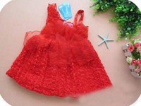 TuTu Summer Tutu 2014 New hot Kids Summmer Dresses Girls Red Dresses Baby Girls Birthday Wedding Party Roses yarn vest sling tutu dress ,AU102
