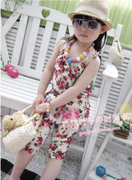Wholesale 5pcs girl s summer flowers suspender rompers pant kids floral Jumpsuits overalls girls summerbeach clothes