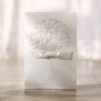 Wholesale Gorgeous Embossed Flower White Free Personalized amp Customized Printing Wedding Invitations Cards Custom