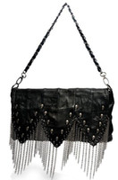 Wholesale women s handbag Skull Vintage Evening Bag Day Clutches Real Leather Skulls Tassel Chain Motorcycle Bag