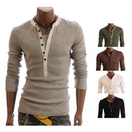 Wholesale S5Q New Mens Fashion Casual Slim fit Long Sleeve T shirts AAACSC