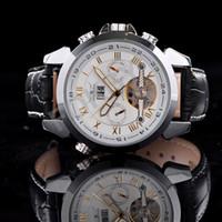 Prezzi Orologi jaragar-1pcs caldo di lusso meccanico automatico della vigilanza di Fahion pelle Data orologio da polso JARAGAR Dropship 06146