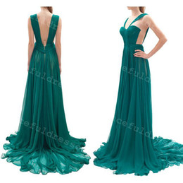 Wholesale Real Images A line Shoulder Straps V Neck Blue Chiffon Sweep Train Zipper Up Evening Dresses