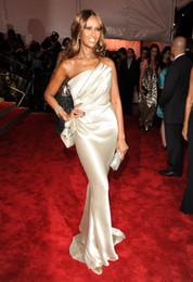 Wholesale 2014 Sexy One Shoulder Formal Evening Gowns Met Gala Best and Worst Dressed Satin Gold Shiny Backless Celebrity Dresses