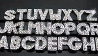 Wholesale Good quality mm A Z Full Rhinestone Slide letters Charm DIY Accessories fit pet collar