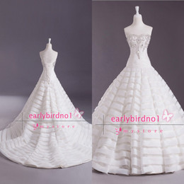 Wholesale 2014 Real Image Ball Gown Wedding Dresses Sexy Sweetheart Crystals Ruffles Organza Chapel Train Summer Beach Vintage Bridal Gowns BO3700