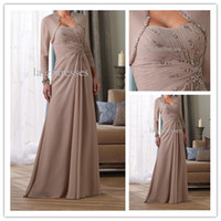 Wholesale 2014 New arrival Custom Made Quality Charming Modest Strapless Khaki Chiffon Mother of the Bride Dresses with Beads and free Jacket h4