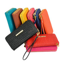 Wholesale New Women s Fashion Pure Color Synthetic Leather Zippered Purse Long Wallet Clutch Colors drop shipping