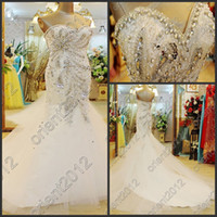 Real Photos tulle petticoat - 2014 Free Petticoat Bling Bling Mermaid Wedding Dresses Pearls Crystals Sequins Sheath Cathedral Train Bride Bridal Dresses Gown Tulle Dress