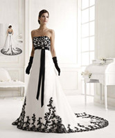 black and white wedding dress - Most Beautiful Black And White Wedding dresses With Silk Sash Strapless Sweep Train A Line Long Bridal Gowns No Sleeve Exquisite