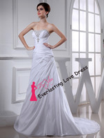 Cheap Free Shipping New Arrival A-line Beading White Taffeta Wedding Dresses wedding gowns ball gown corset bridal dresses customized made