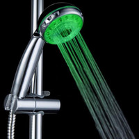 Wholesale LED Multi function Adjustable Shower Head Water Way Hand held Nozzle Colorful Changes Bathroom L1015D