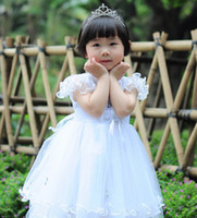baby smocked dresses - Infant Baby Girls Gorgeous Veil Flowers Smocked Flouncing Lace Floral Applique Dresses Children Girls Birthday Dress Clothes B2293