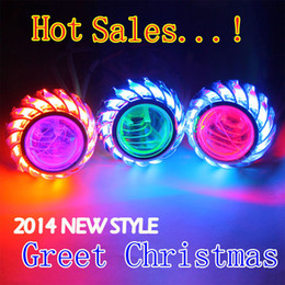 Wholesale Christmas Gifts New style motorcycle w quality Hid Bixenon Projector Lens Headlight k K Blue Red White CCFL Angel Eye