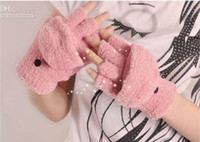 Wholesale Fashion Warm Velvet Flip Gloves Solid Color Fingerless Gloves Keyboard Gloves Unisex Winter Half fingers Gloves