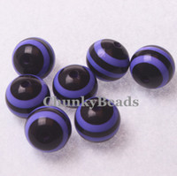 Wholesale Halloween Beads MM Purple Black Printed Resin Stripe Beads Chunky Gumball Beads For Bubblegum Necklace A38