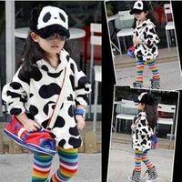 Wholesale Girls lovely cow hoodie children coral velvet long sleeve tops kids coat autumn clothing garment