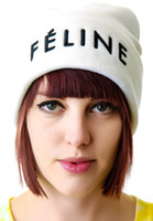 Wholesale Freeshipping Hiphop FELINE knit beanies hats fashion men amp women s designer skullies snapbacks cap black red white