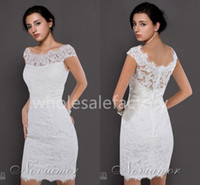 Wholesale 2014 Cocktail Dresses Sheer Lace Crew Neckline Off shoulder Cap Sleeves Sheath Mini Short Prom Dresses BO2674