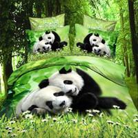achat en gros de reine feuille de bambou ensemble-Vente en gros - 3d pandas en bambou vert literie ensembles coton tissu reine couette / couette / housse couette plat oreiller oreiller couvert lit