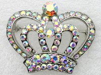 Wholesale jewelry gift Aurore Boreale Rhinestone Brooch Fashion Costume brand Brooches Small Crown Crystal brooch C405