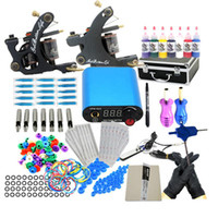 Wholesale Hot China Tattoo Machine Gun Inks Needle Grips Power Supplies Kits Sets USA warehouse GBL WS K002A