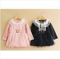 TuTu ruffle yarn - New Arrival Kids Dress Girl Spring Lace Ruffled Collar Dress New Fashion Yarn Princess Dress