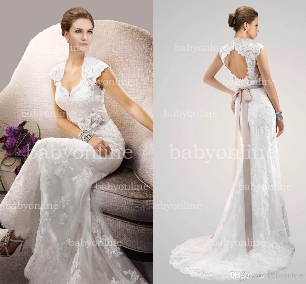 2015 vintage lace sheath wedding dresses sexy v neck cap for Lace sheath wedding dress vintage