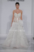 Wholesale Newest pnina tornai sweetheart full see through sheer lace floral ruffles mermaid style chapel cathedral garden Wedding Dress Bridal Gown
