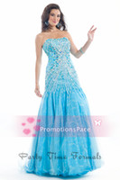 Wholesale 2014 Stunning Evening Dresses Strapless Rhinestone Crystal Beads Glitz Lace Sheath Zipper Back Tulle Blue Formal Prom Gown PT6436