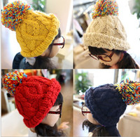 Wholesale Winter Kids s Caps amp Hats Children Beaines Cap Warm Wool Boy Girl Baby Knitted Hat Fashion Beaines Hats QZ457