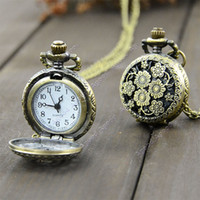 Wholesale 2014 mini Retro Vintage classical Bronze Steampunk Quartz Necklace Pendant Chain Clock Pocket Watch Chrysanthemum Sunflowers Hollow