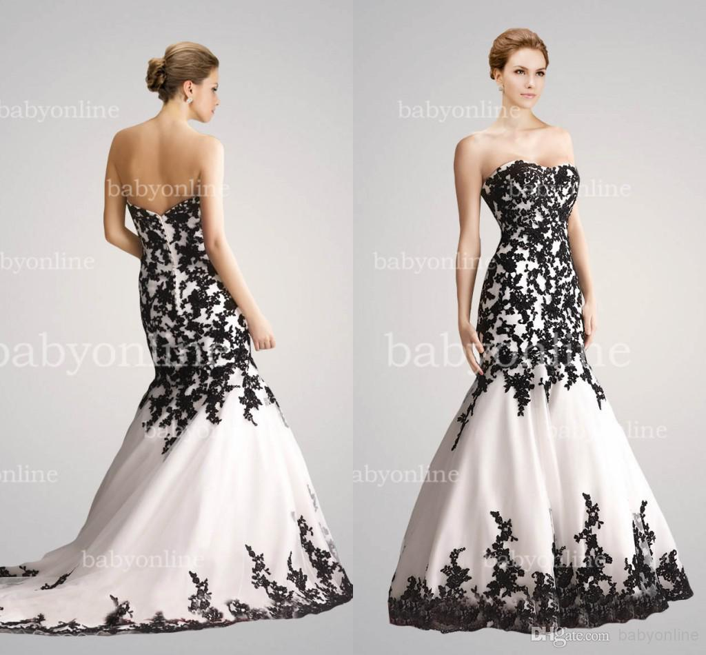 2014 Evening Gowns Black White Lace Wedding Dresses Sheer Mermaid ...