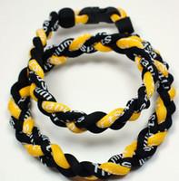 achat en gros de jaune titane du sport-Vente en gros - 350pcs / lot 3 Ropes tressé Collier GermaniumTitanium Noir Collier jaune sain collier sport RT065