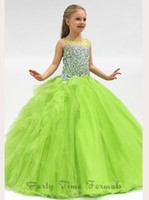 Model Pictures Girl Beads 2014 Bateau Crystals Rhinestone Angels Ball Gown Little Girl Princess Pageant Gown Birthday Ruffled Skirt Full Length Flower Girls' Dresses