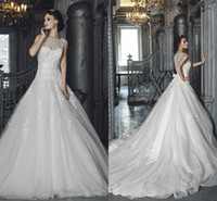 Sheer Wedding Dresses 2014 Custom Made Sweetheart Tulle Cors...