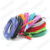 Wholesale 3M FT Extra Long Extension USB Fiber Braided Charger Cable Sync Data Fabric Knit Nylon Chargring Cord Lead For Cellphone Smartphone