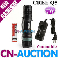 Wholesale FS SA LED Flashlight W Mode CREE Q5 Zoomable LED Torch LM V Battery Charger CN SA CN Auction