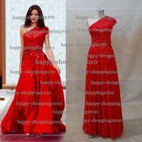 Wholesale Miranda Kerr In David Jones One Shoulder Red Celebrity Dresses Chiffon with Sequin Beaded Empire Waist A Line Formal Evening Dresses dhyz