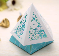 Wholesale 6 cm Blue Pink Yellow Paper Cut Wedding Gift Candy Box Gift Package Party Favors CK066