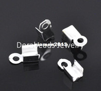 Wholesale Silver Plated Necklace Cord Crimp End Caps x4mm B14896