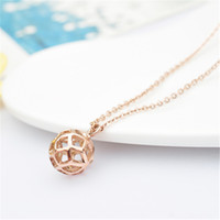 Wholesale Stainless Steel The World Cup mini hollow out football pendant for Necklace Charms Rose Gold Women Girls New Fashion