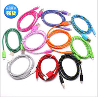 Wholesale New Braided Wire USB charger Shield Weave cable Date line sync adapter cables Samsung Galaxy S3 S4 Note iphone C S G S