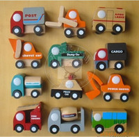 Wholesale Children s mini car model series combination of wind power wooden trolley quality early childhood educational toys models