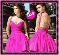 2014 Tarik Ediz Sheer Half Long Sleeves Short Fuchsia Weddin...