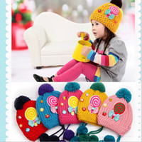 Wholesale Winter Children Caps The Embroidery Lollipop Kids Beanies Cap Thicken Warm Knitted Baby Boy Girl Hats Child Hat QZ463