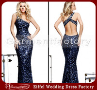 Reference Images One-Shoulder Sequined Fabric One Shoulder Evening Dress Unique 2014 New Design Sheath Court Train Navy Blue Sequins Fabric