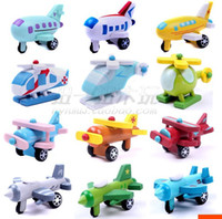 aircraft Wooden 12color mixed Series of twelve models wooden airplane toy model aircraft movable children's educational toys